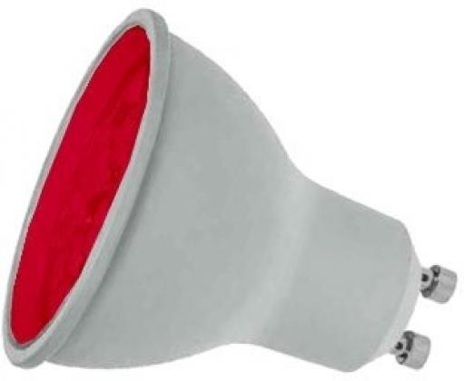 7W LED GU10 Lamp RED coloured, Prolite LGU10LEDR