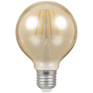 5W LED Globe G80 Antique Filament ST64 Dimmable Lamp 2200K Warm ES (E27), Crompton 4276