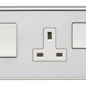 45A DP Cooker Unit. SWITCH & 13A SOCKET POLISHED CHROME WHITE Interior