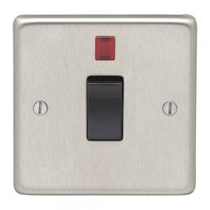 Double Pole 20A Switch with Neon Satin Chrome Black, Eurolite SSS20ASWNB