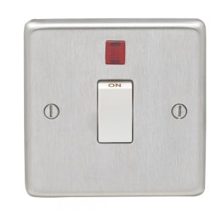 Double Pole 20A Switch with Neon Satin Chrome White, Eurolite SSS20ASWNW