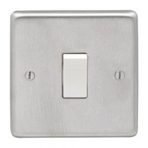 Double Pole 20A Switch Satin Chrome White, Eurolite SSS20ASWW